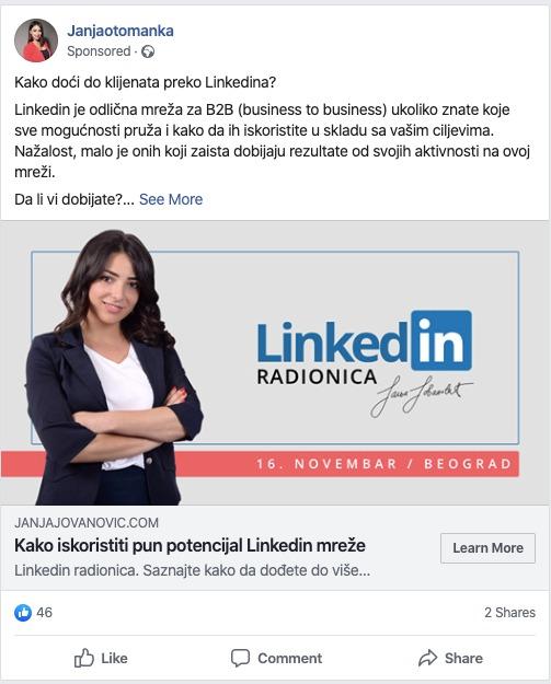 Janja Jovanovic - Linkedin radionica