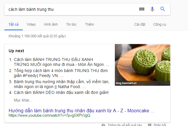 bảng liệt kê featured snippets