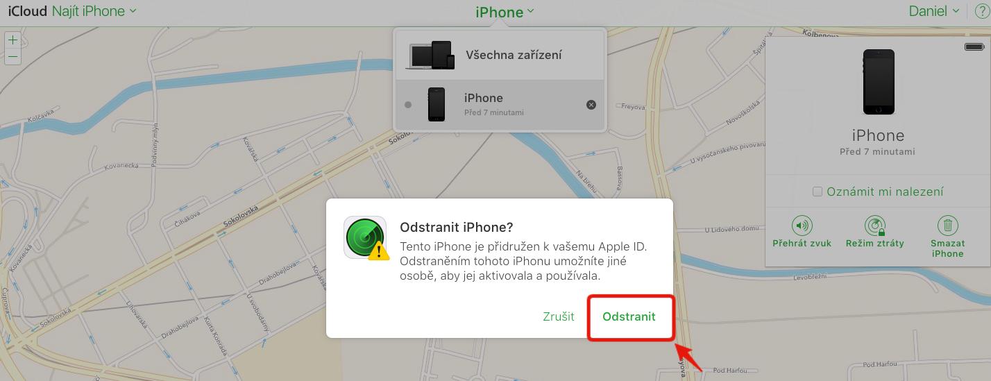 odstranit iphone z mapy