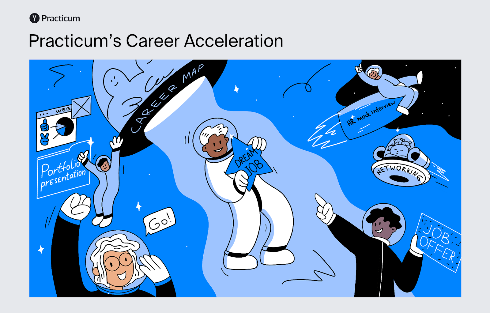 Infographic covering Practicum's career acceleration