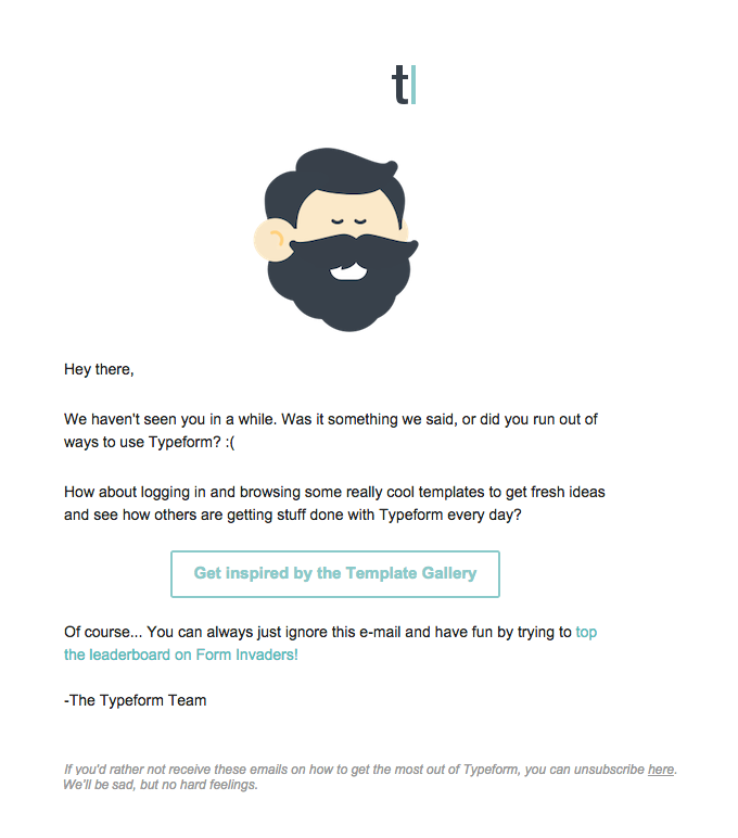 Typeform marketing email.
