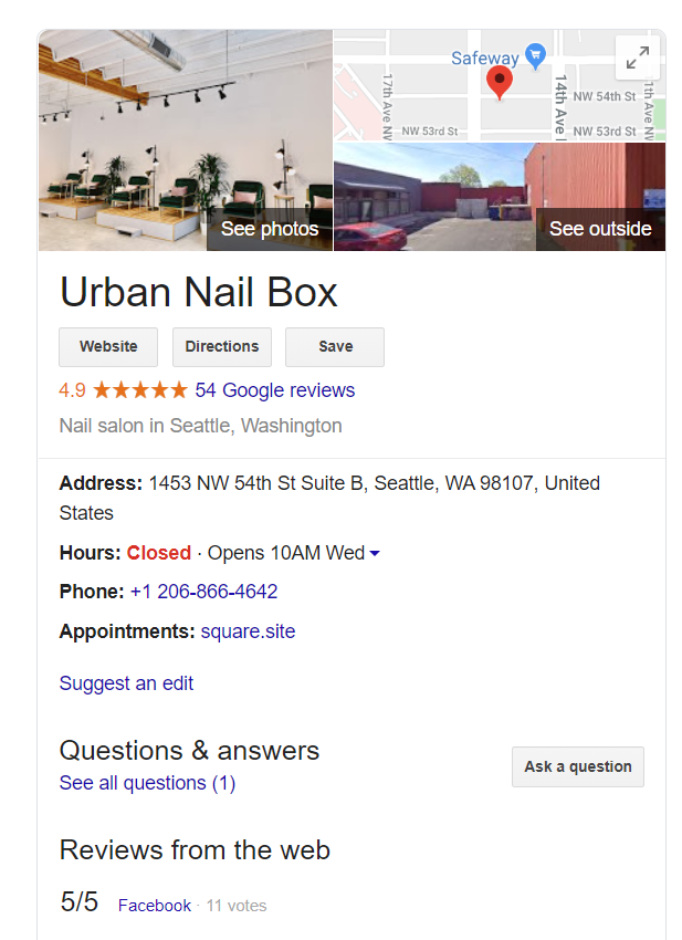 Example of Google My Business Listing