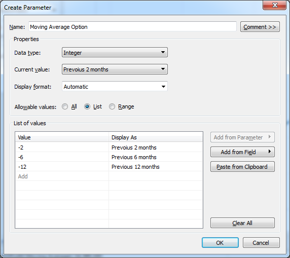 Tableau > Create Parameter > Moving Average Option