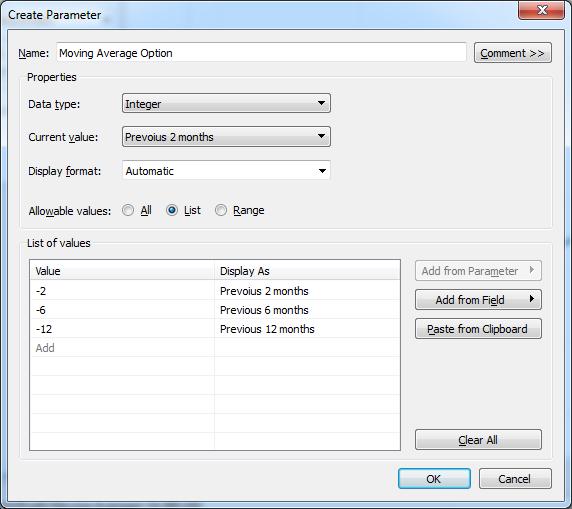 Tableau > Create Parameter > Moving Average Option