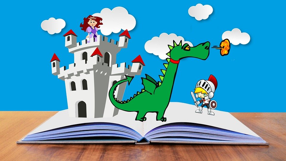 open book with pop up castle, dragon, and knight