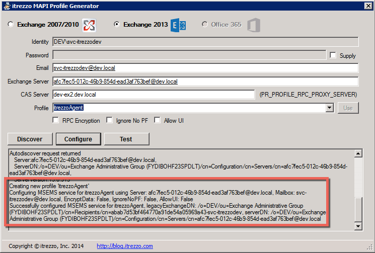 Exchange Server MAPI profile generator