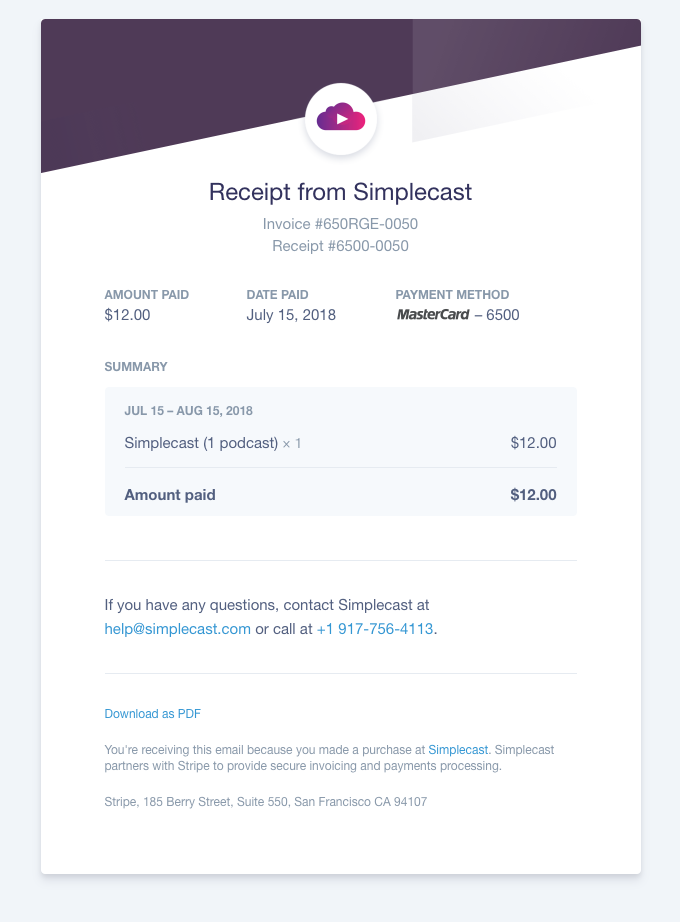 Simplecast customer payment confirmation email sample