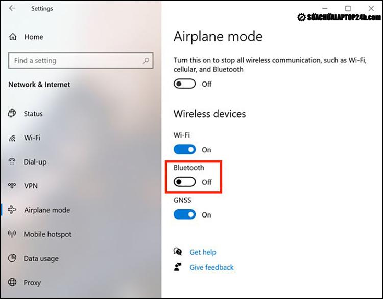 Bật Bluetooth từ Airplane mode