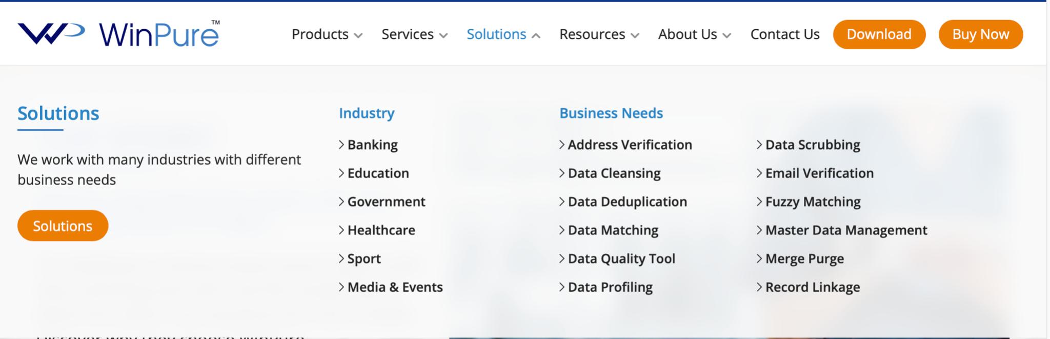 WinPure industries in website footer