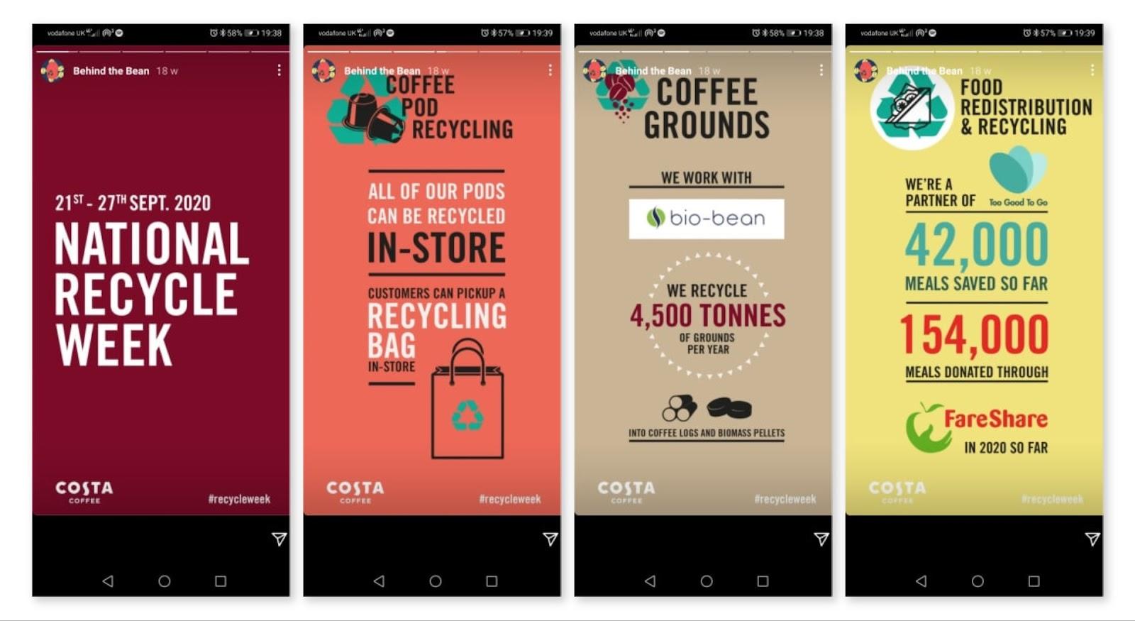 Costa Coffee Instagram Stories