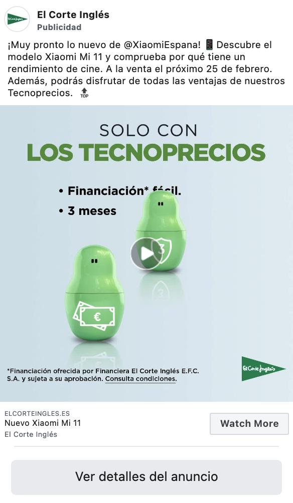 Así se anuncia el Corte Inglés en Instagram Ads