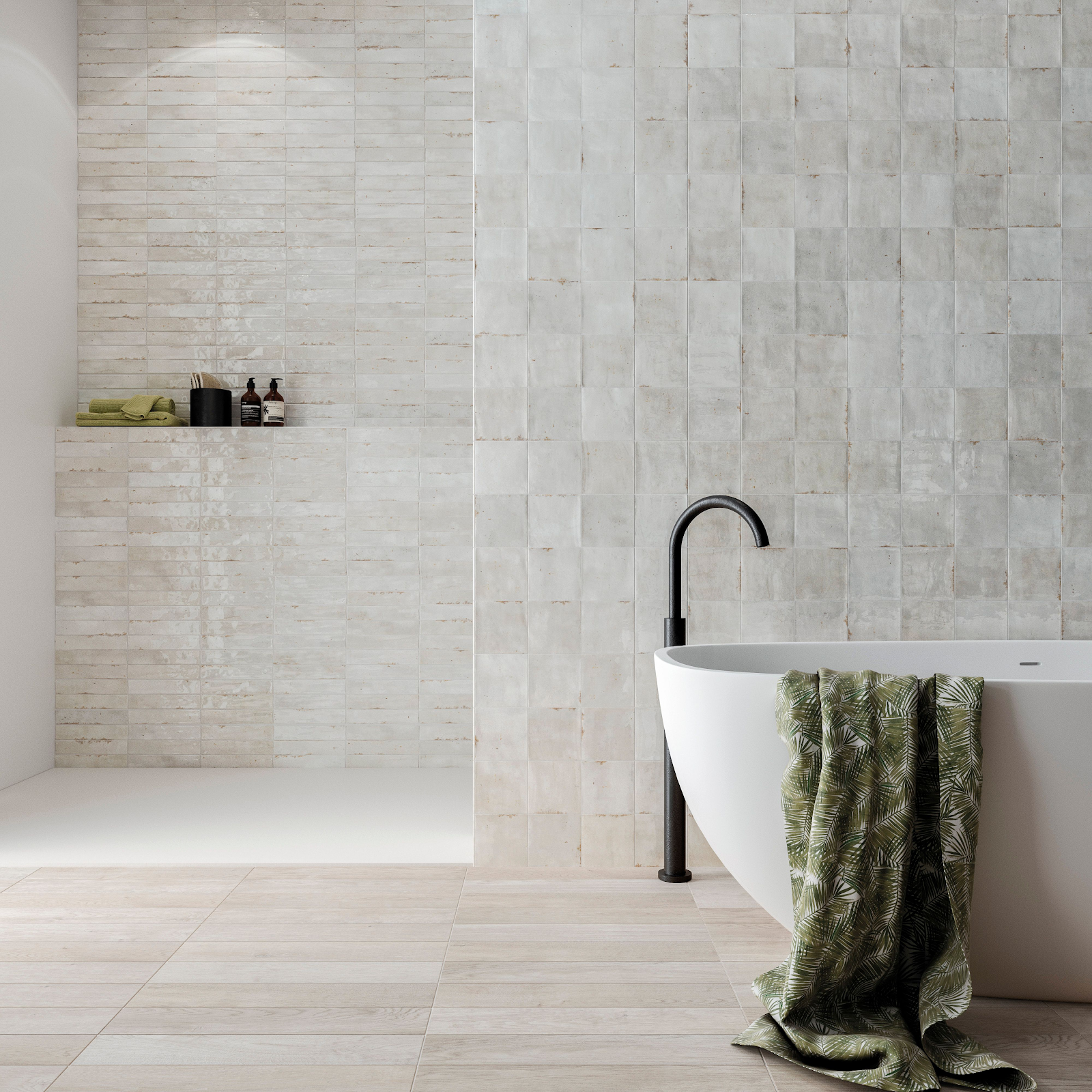 Textured white tile walls in a bathroom and shower