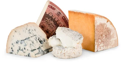 Four different cheeses available from the Cheese of the Month Club