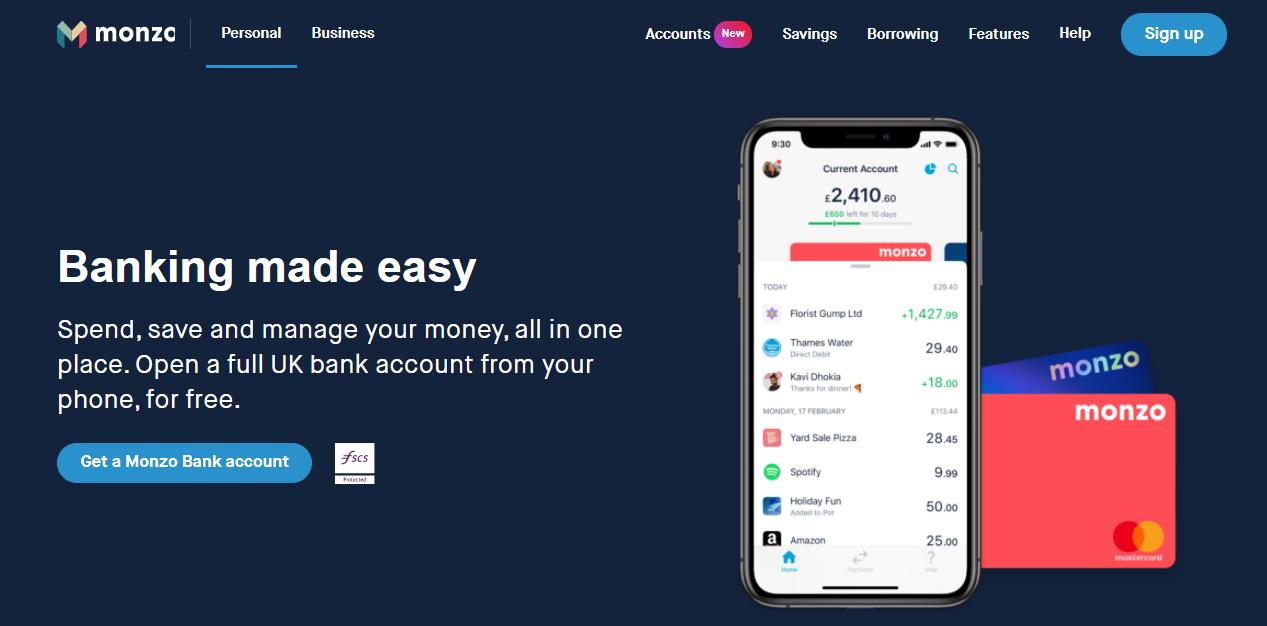 Screenshot of Monzo's home page