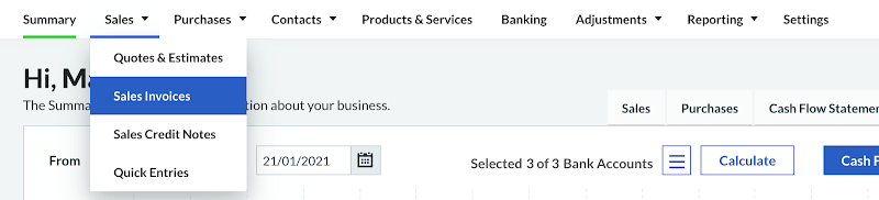 Sales invoices in Sage