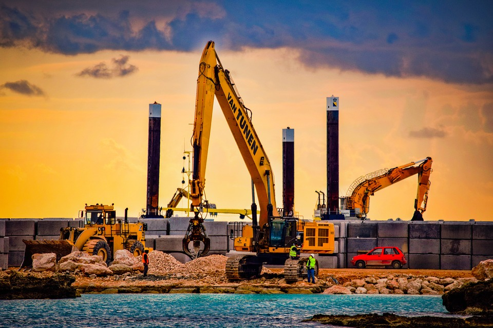 Construction Site, Working, Sea, Heavy Machines, Sky