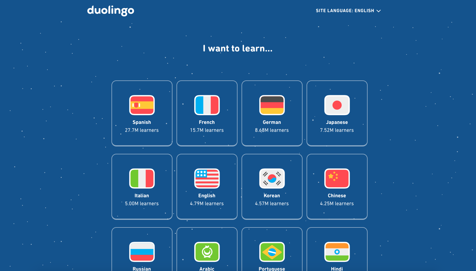 Duolingo list of languages during the sign up process