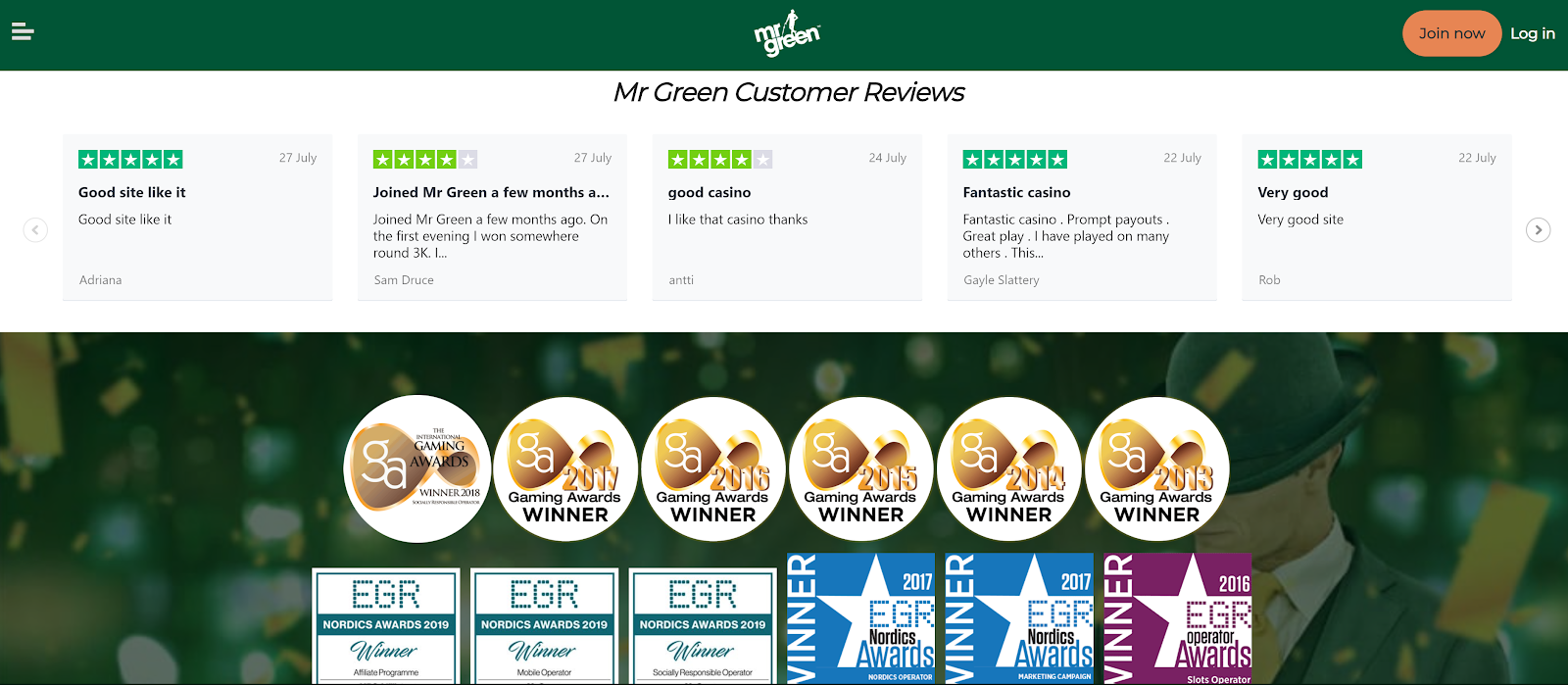 Mr Green Casino is a top-rated slot bonus site