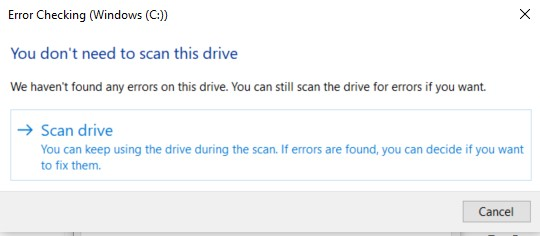 Error Checking scan window for system drive