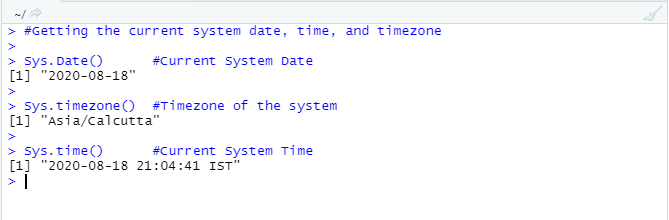 This image shows how the Sys.Date(), Sys.time(), Sys.timezone() functions work and generate the desired output.