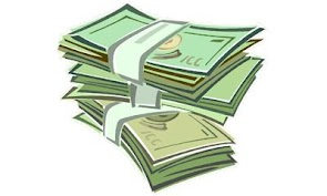 [Descripcion de la imagen: dibujo de una pila de tres fajos de billetes verdes.]