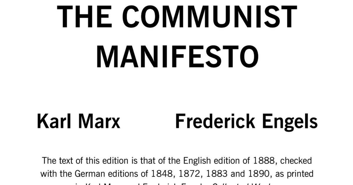 communist manifesto response Read the first chapter of the communist manifesto how do karl marx and friedrich engels define the bourgeoisie how do they criticize it in what ways is their treatment of the bourgeoisie similar to tolstoy's in his novella the death of ivan ilyich.