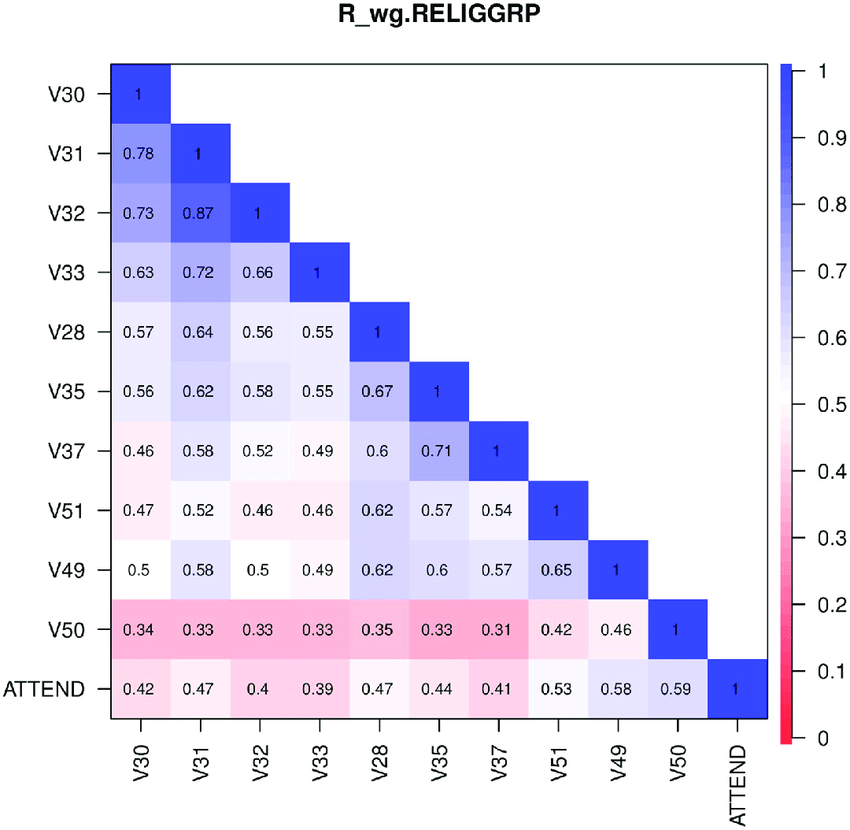 Pooled within-group correlation matrix. Pooled within-group correlation matrix R w.RELIGGRP , computed by weighting the within-group polychoric correlation matrices for the religious group (RELIGGRP), with weights proportional to group size, based on the 1998 ISSP Religion data [50]. https://doi.org/10.1371/journal.pone.0216352.g002