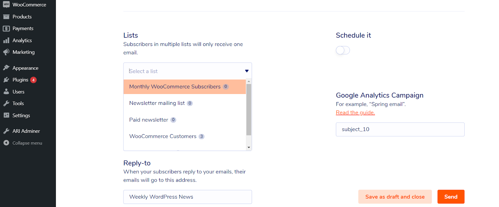 Email marketing for a WooCommerce subscription business: Select segment to send your email to