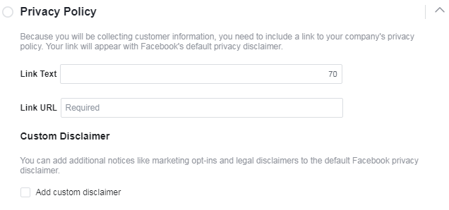 facebook lead ads privacy policy