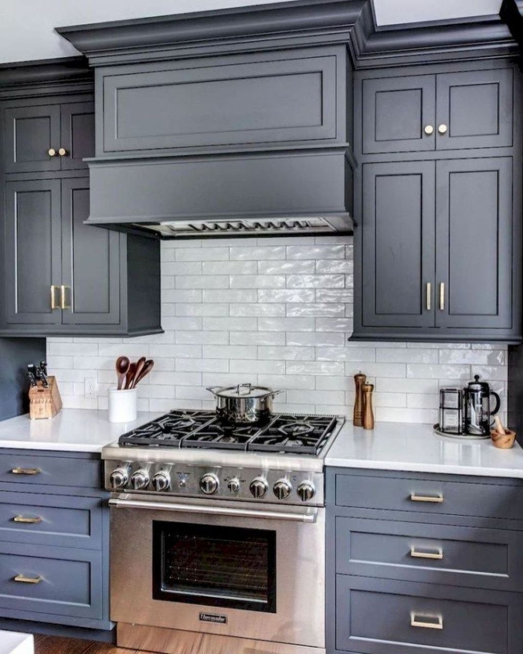 gray cabinets with gold hardware