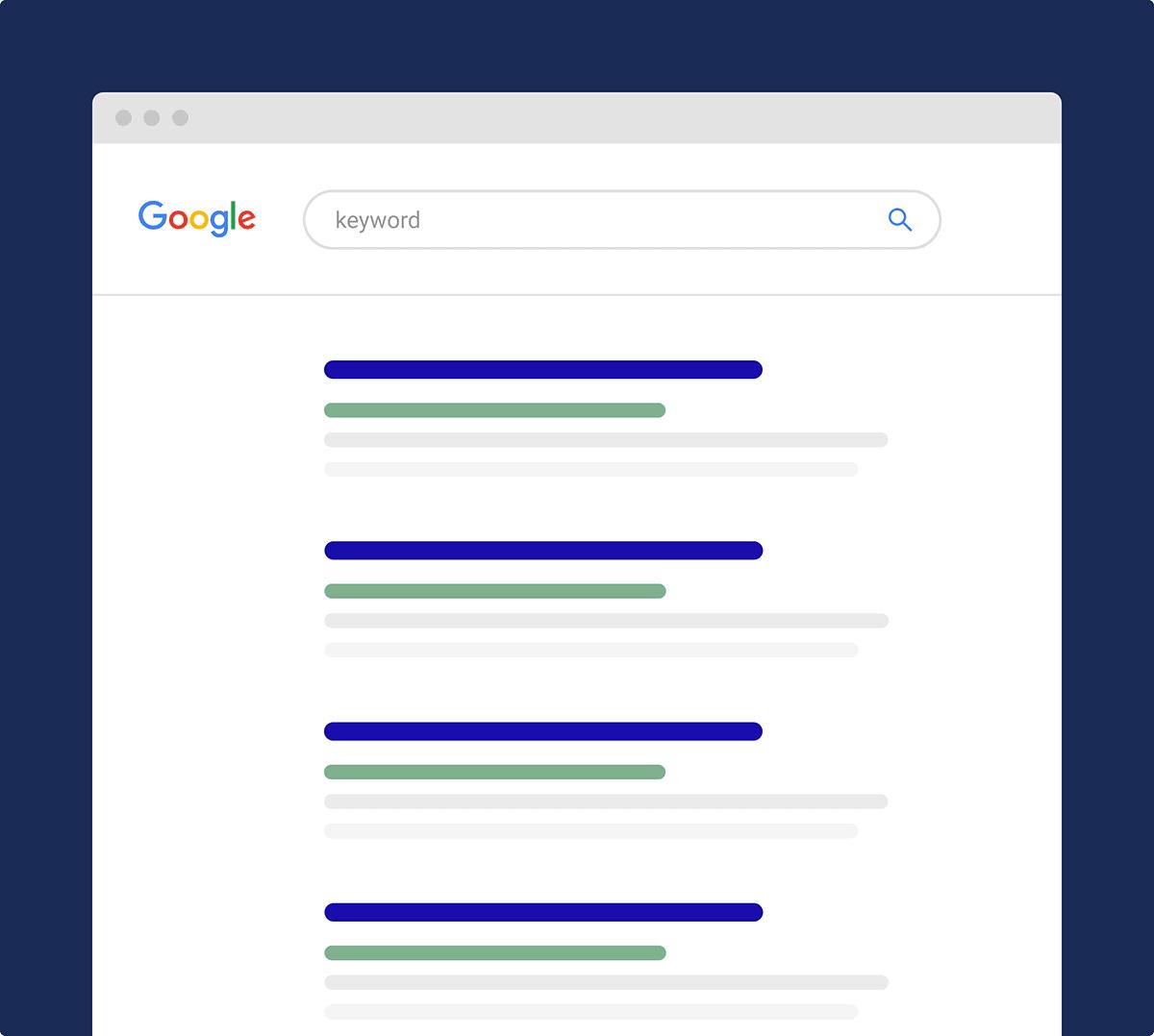 Illustration d'une page de résultat de Google (SERP)