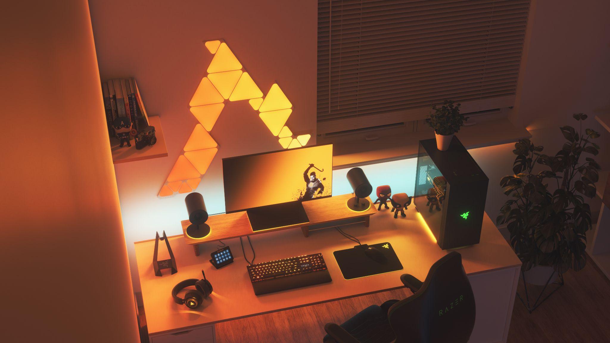 RBG battlestation PC gaming setup with smart lighting features