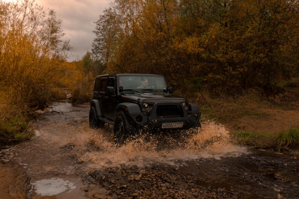 04.10.2017. Leningrad region. Russia. Jeep Wrangler Rubicon off-road . Wrangler Rubicon is a compact SUV manufactured by Chrysler
