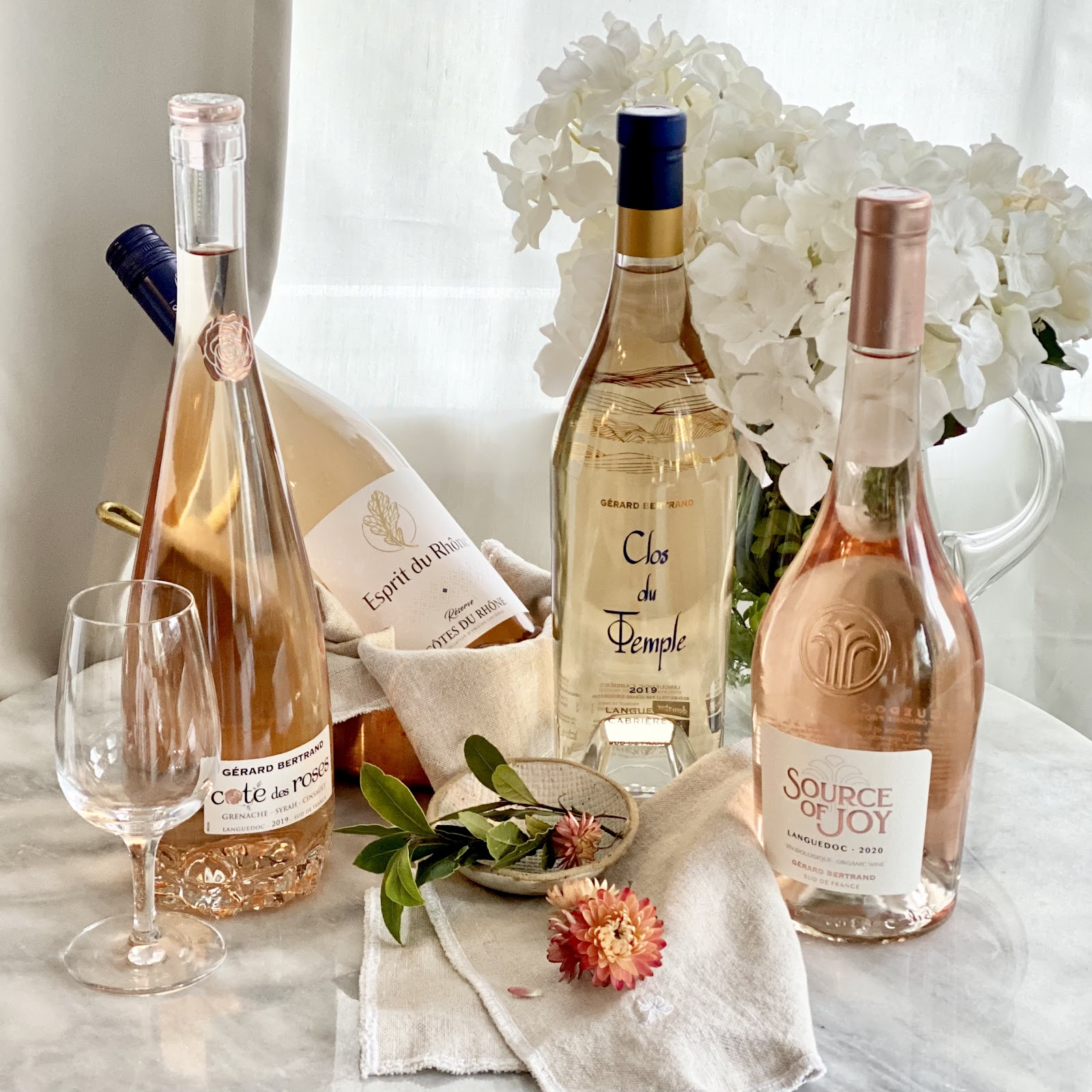alison kent the home kitchen 5 week series blog on rose wine with barb wild of the good wine gal rose wines selection featuring cote des roses esprit du thone clos de temple and source of joy