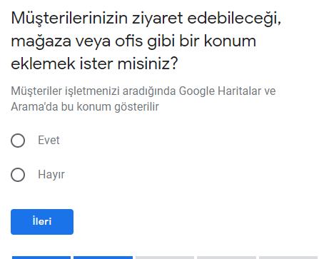 google benim işletmem konum seçimi