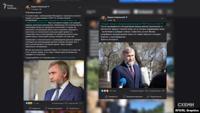 15 квітня депутат Новинський повідомив, що в нього виявили коронавірус – а вже 4 травня він оголосив, що вилікувався
