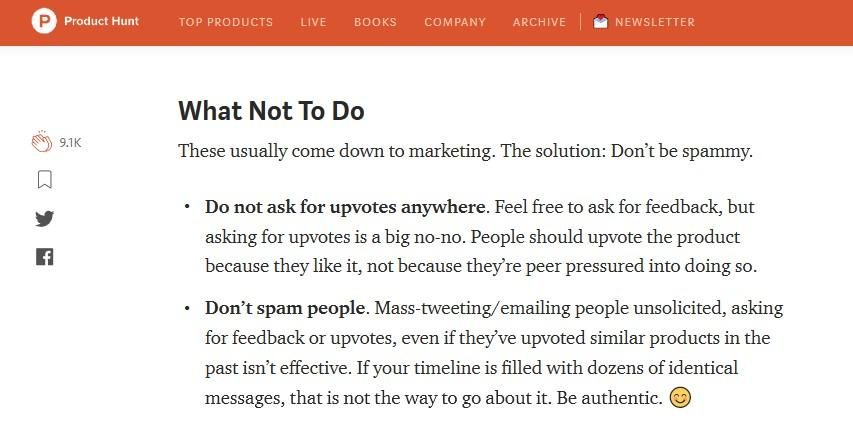do not ask for upvotes on product hunt