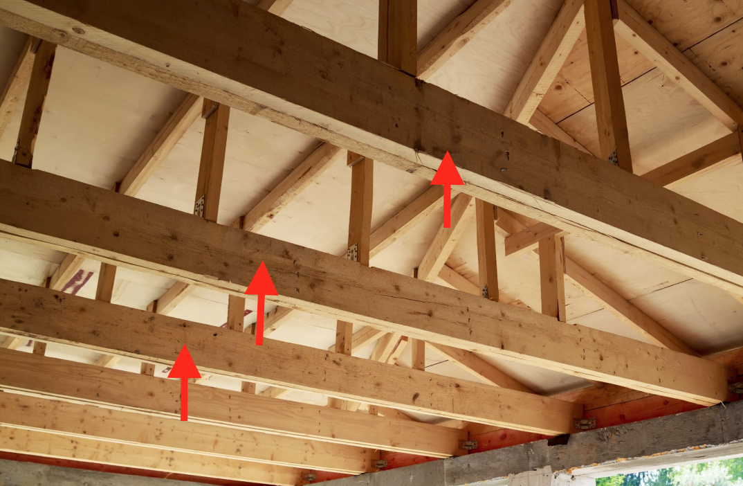 ceiling joist example with arrows pointing to it