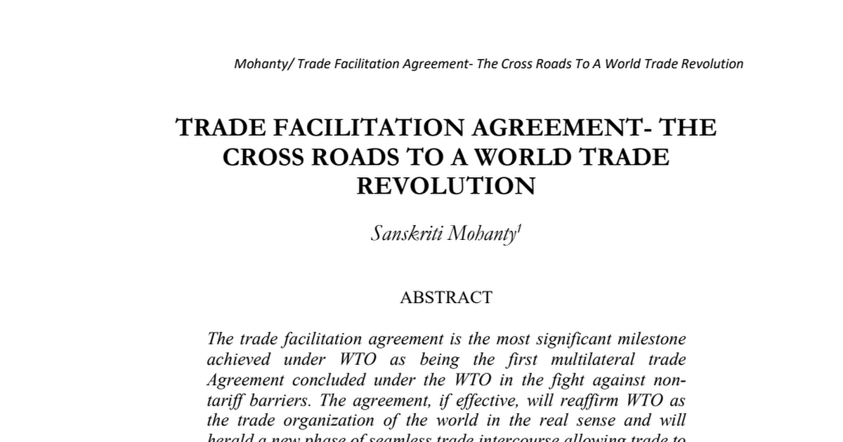 Trade Facilitation Agreement The Cross Roads To A World Trade