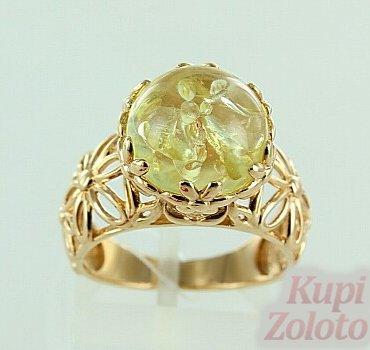 Кольцо красное золото 585 проба купить 51К413095, цена украшения: 19250  руб. камни: янтарь, размер: 18.0, вес ...   350x370