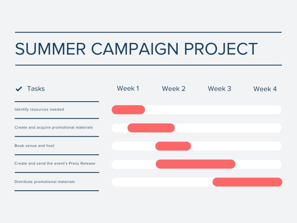 Gantt chart - summer campaign project
