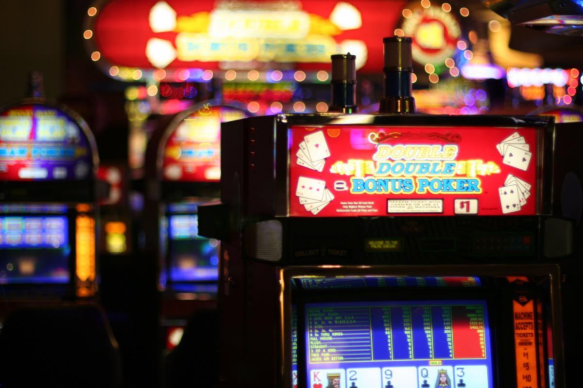 Poker Machine in Casino, blurred background