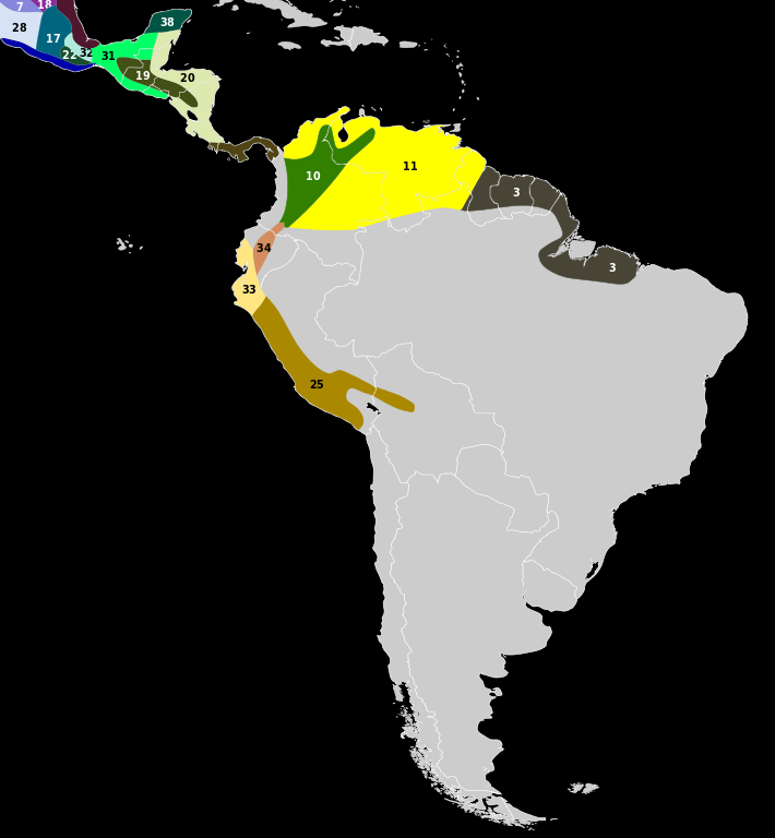 Range Map of White-Tailed Deer Subspecies (Central and South America)