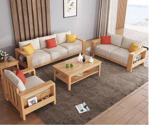 Bàn ghế sofa gỗ cao su