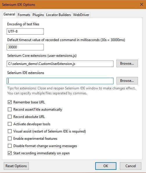 Selenium IDE Options