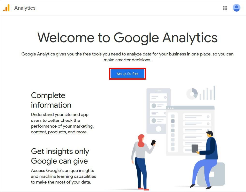 Thiết lập tài khoản Google phân tích