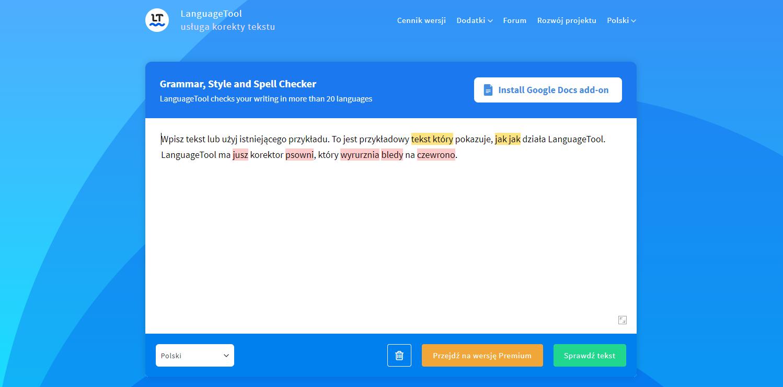 language tool sprawdzanie ortografii interpunkcji jak pisać ładnego bloga