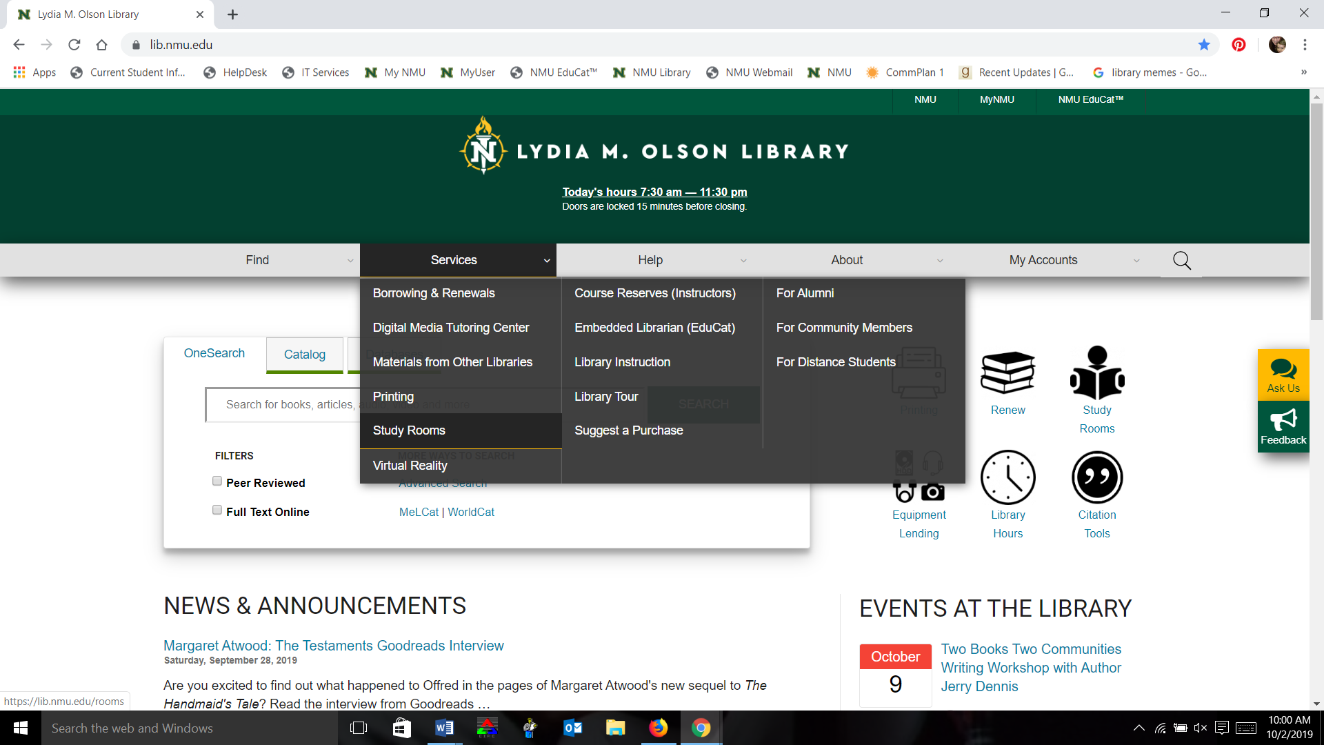 Screen shot of library website with Services menu visible