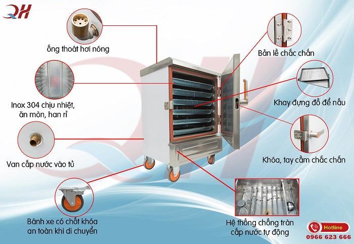 Thiết kế của tủ nấu cơm công nghiệp