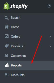 Shopify Reports menu